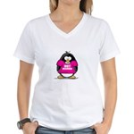 Hot Momma Penguin Women's V-Neck T-Shirt