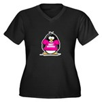 Hot Momma Penguin Women's Plus Size V-Neck Dark T-