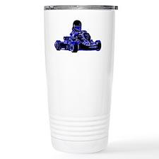 Kart Racing Blue and Wh Travel Mug