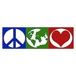 Peace, Earth, Love (iconic bumper sticker)