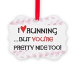 I Heart Running Picture Ornament