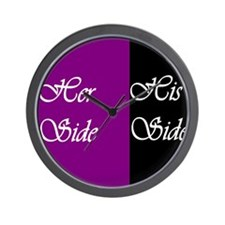 Her Side: His Side , purple, black Wall Clock