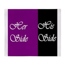 Her Side: His Side , purple, black Throw Blanket