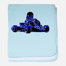 Kart Racing Blue and White baby blanket