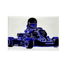 Kart Racing Blue and White Magnets
