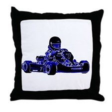 Kart Racing Blue and White Throw Pillow