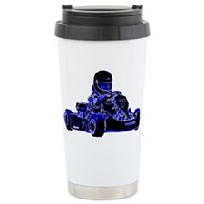 Kart Racing Blue and White Travel Mug