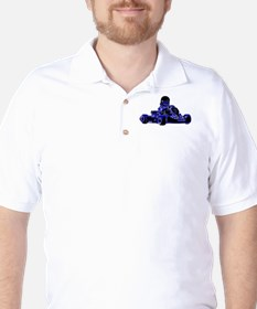 Kart Racing Blue and White T-Shirt