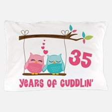 35th Anniversary Owl Couple Pillow Case