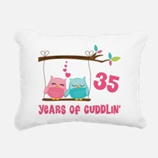 35th Anniversary Owl Couple Rectangular Canvas Pil