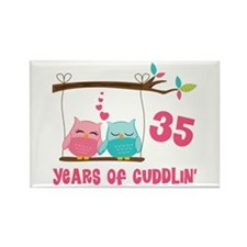 35th Anniversary Owl Couple Rectangle Magnet