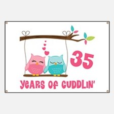 35th Anniversary Owl Couple Banner