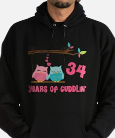 34th Anniversary Owl Couple Hoodie