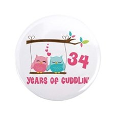 "34th Anniversary Owl Couple 3.5"" Button"