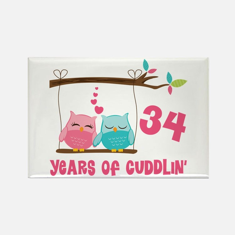 34th Anniversary Owl Couple Rectangle Magnet