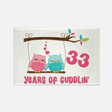 33rd Anniversary Owl Couple Rectangle Magnet