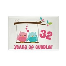 32nd Anniversary Owl Couple Rectangle Magnet