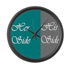 Her Side: His Side , Teal/Grey Large Wall Clock