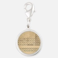 Periodic Table Silver Round Charm