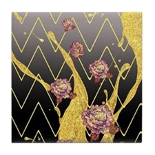 Elegant Glitter Rose Flowers Gold Che Tile Coaster