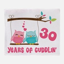 30th Anniversary Owl Couple Throw Blanket