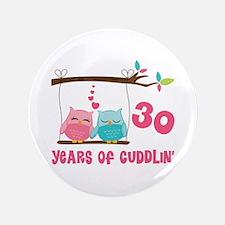 "30th Anniversary Owl Couple 3.5"" Button"