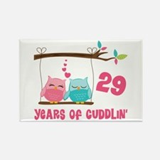 29th anniversary owl couple rectangle magnet