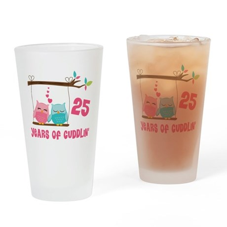 25th Anniversary Owl Couple Drinking Glass