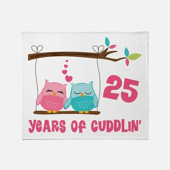 25th Anniversary Owl Couple Throw Blanket