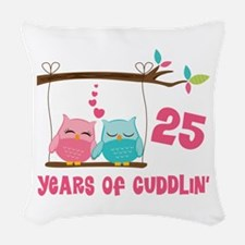 25th Anniversary Owl Couple Woven Throw Pillow