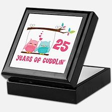 25th Anniversary Owl Couple Keepsake Box