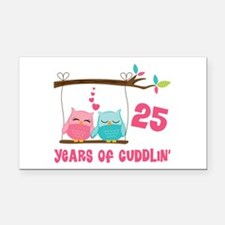 25th Anniversary Owl Couple Rectangle Car Magnet