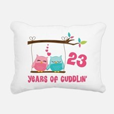 23rd Anniversary Owl Couple Rectangular Canvas Pil