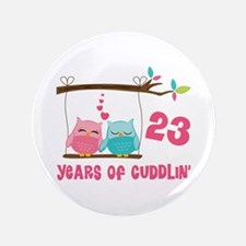 """23rd Anniversary Owl Couple 3.5"""" Button"""