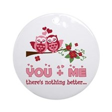Valentine Couple Owl You And Me Ornament (Round)