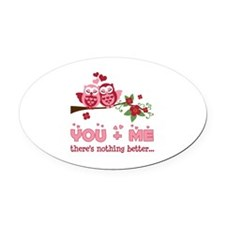 Valentine Couple Owl You And Me Oval Car Magnet
