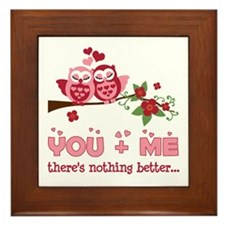 Valentine Couple Owl You And Me Framed Tile