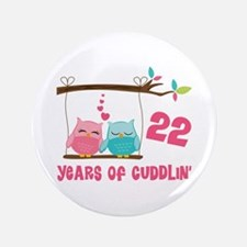 "22nd Anniversary Owl Couple 3.5"" Button"