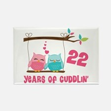 22nd Anniversary Owl Couple Rectangle Magnet