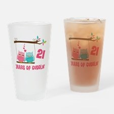 21st Anniversary Owl Couple Drinking Glass