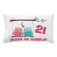 21st Anniversary Owl Couple Pillow Case