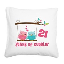 21st Anniversary Owl Couple Square Canvas Pillow