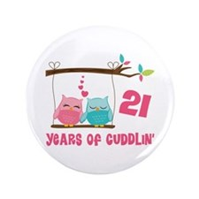 "21st Anniversary Owl Couple 3.5"" Button"
