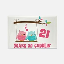 21st Anniversary Owl Couple Rectangle Magnet