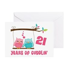 21st Anniversary Owl Couple Greeting Cards (Pk of