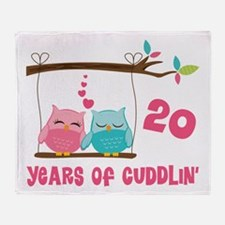 20th Anniversary Owl Couple Throw Blanket