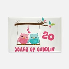 20th Anniversary Owl Couple Rectangle Magnet