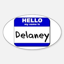 hello my name is delaney Oval Decal