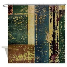 Colored Block Rustic Old Wooden Texture Shower Cur