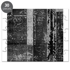 Black White Gray Rustic Old Wooden Texture Puzzle